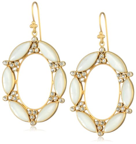 Lauren Harper Collection Over the Moon 18k Gold, Mother-Of-Pearl and Rose Cut Diamond Oval Earrings