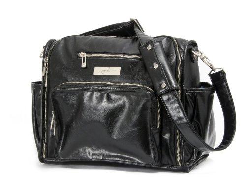 Ju-Ju-Be Be Fabulous Earth Leather Diaper Bag, Black/Hot Pink