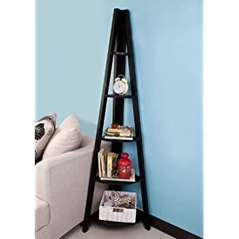 SoBuy Haotian Modern ladder bookcase made of wood, book shelf,stand shelf, wall shelf (FRG20-SCH)