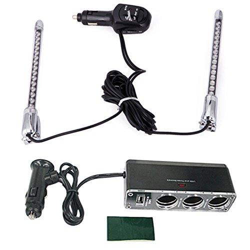 Hde 2 Pc Blue Sound Activated 15 Led Car Music Light + 12 Volt 3 Socket Car Lighter Adapter With Usb Charge Port