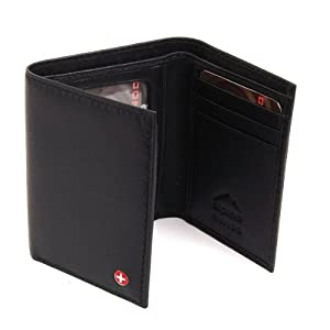 Alpine Swiss Men's Leather Trifold Wallet - Soft Superb Quality Lamb Skin Leather - Black Comes in a Gift Bag. from Alpine Swiss