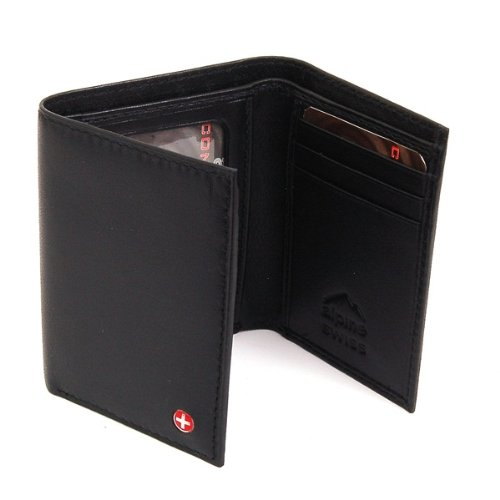 Alpine Swiss Mens Leather Trifold Wallet - Soft Superb Quality Lamb Skin Leather - Black Comes in a Gift Bag.