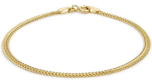 9ct Yellow Gold Semi Hollow Double Curb Bracelet 19cm/7.5