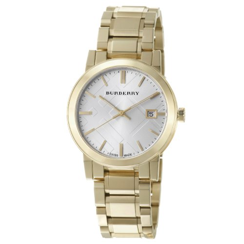 Burberry Men's BU9003 Large Check Goldtone Stainless Steel Bracelet Watch
