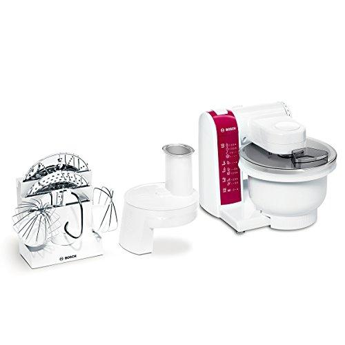 MUM4825 Küchenmaschine (600 Watt, Kunststoff-Rührschüssel, Durchlaufschnitzler, Rezept DVD) weiß/rot