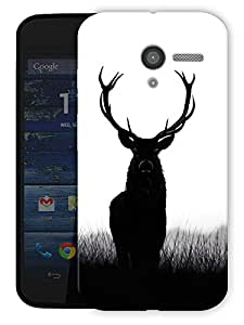 "Deer Black White Printed Designer Mobile Back Cover For ""Motorola Moto X"" By Humor Gang (3D, Matte Finish, Premium Quality, Protective Snap On Slim Hard Phone Case, Multi Color)"