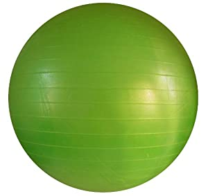 Fitness Ball: Green, 26in/65cm Diameter, Includes 1 Ball +1 Pump + 1 Page Instruction Chart. No instructional DVD. (Exercise Gym Swiss Stability Ball) by Apple Round Global Trading LLC