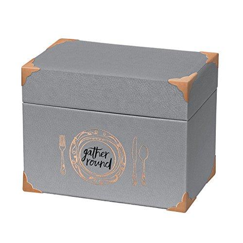 C.R. Gibson Crème de la Crème Leatherette Recipe File Box with Cards, Gray (4 X 6 Metal Recipe Box compare prices)