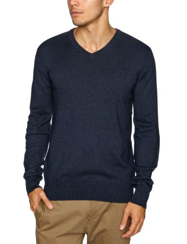Timberland Cotton Cashmere V Neck Men's Jumper Dark Navy Heather Medium