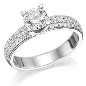 18K Gold / White 3/4ct EGL Certified Diamond Engagement Ring Round Cut I Color SI2 Clarity