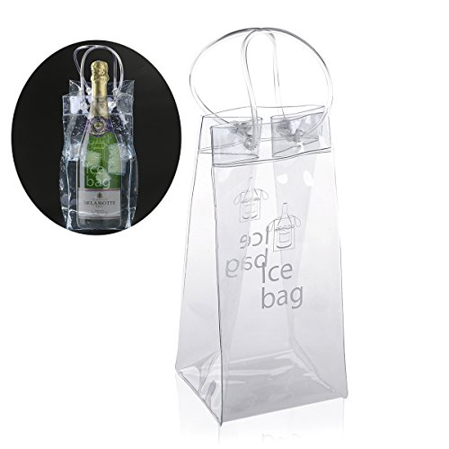 Ice Bag - Nuolux Clear Transparent PVC Champagne Wine Pouch Cooler Bag with Handle (Portable Champagne Cooler compare prices)