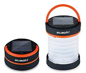 Suaoki Led Camping Lantern Lights Rechargeable Battery (Powered By Solar Panel and USB Charging) Collapsible Mini Flashlight for Outdoor Hiking Camping Tent Garden Patio(Emergency Charger for Phone, Water-Resistant, Orange)
