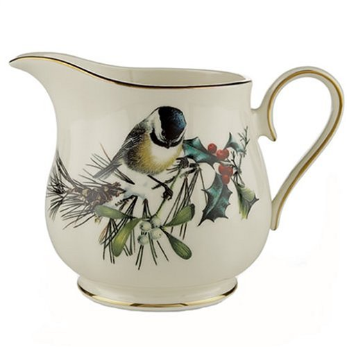 Lenox Winter Greetings Gold Banded Ivory China Creamer front-584980