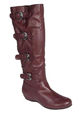 Comfortview Women's Plus Size Frankie Wide Calf Boot Burgundy,7 M