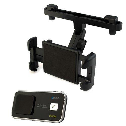Ikross Solar Powered Bluetooth Speakerphone Handsfree Car Kit Plus Car Headrest Mount Holder For All Tablets: Apple Ipad 4, 2, 3 The New Ipad Mini; Google Nexus 7 & 10; Samsung Galaxy Tab 2; Coby Kyros And More