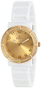 Invicta Women's 14895 Ceramics Gold Dial White Ceramic Watch
