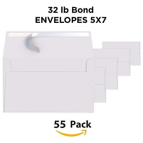 White Invitation 5 x 7 Envelopes 55 pack - For 5x7 Cards - A7 - (5 ¼ x 7 ¼ inches) - Perfect for Weddings, Graduation, Any Cards - 120 GSM - 32lb/80lb Text - Peel, Press & Self Seal - Square Flap