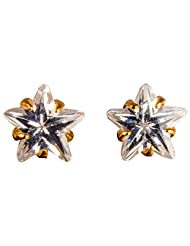 Archi Collection Star 6 Mm Golden Plated Solitaire CZ Stud Golden Brass Stud Earring For Women