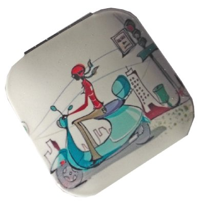 Funky Mirror Compact - Square Shaped French Moped Scene