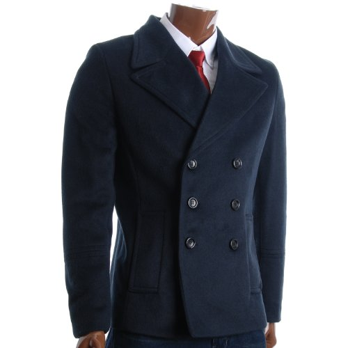 FLATSEVEN Mens Winter Double Breasted Pea Coat Short Jacket (CT121) Navy, XL