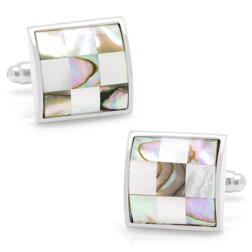 Ox And Bull Mens Plated Mop And Abalone Checker Board Cufflinks