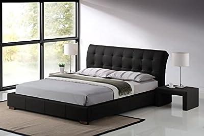 Modern Furniture Direct Fabio King Size Designer Leather Bed and 6-Inch Orthopaedic Foam Mattress 5 ft, Black
