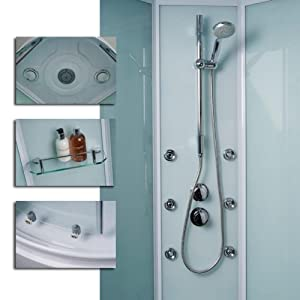 Steam Shower Cabin Enclosure with Tray Complete Walk in Quadrant Sliding Door Corner Unit 6mm Glass 900 x 900 inc. 6 Body Jets Thermostatic Valve Monsoon Overhead Handset Accesory Shelf Easy Access Clean Luxury Modern Entry