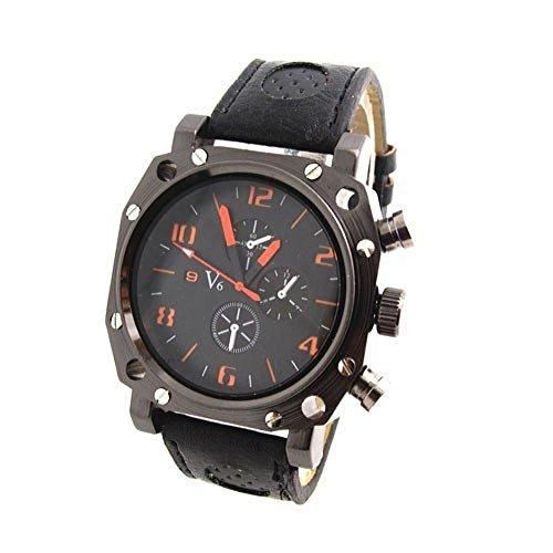 SunShine Day Big Dial Face Leather Strape Men'S Sports Watches V6 Brand Quartz Analog Wristwatches Men V608