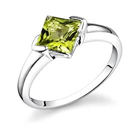 1.75 Carats Princess Cut Genuine Peridot Sterling Silver Ring: Peora