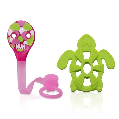 NUK Pacifier Clip and Turtle Teether (Colors may vary) (Discontinued by Manufacturer)