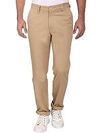Barata Men's Dobby 100% Cotton Khaki Trouser Regular Fit, 100% Cotton Trouser For Men