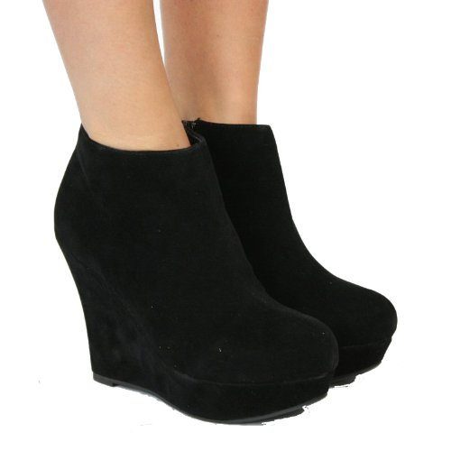 Ladies Wedge Shoes Suede Womens Ankle Wedges