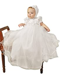 Shanna 3 Month Girls Christening Baptism Blessing Gowns for Girls, Made in USA