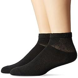 Dr. Scholl's Men's 2 Pack Non-Binding Quarter Socks, Black, Large/10.5-12 Shoe