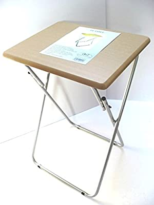 Small Folding Foldable Occasional TV Table Tea Coffee Bed Side With Metal Legs Beech Silver