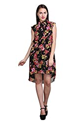 New Sierra Women floral printed faishnable front plaket potli button short sleeve dress