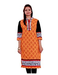 Adesa Women's Khadi Self Print Regular Fit Kurti