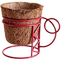 Pinwheel's Metal Coir Ruby Red Deco Mug Planter Container