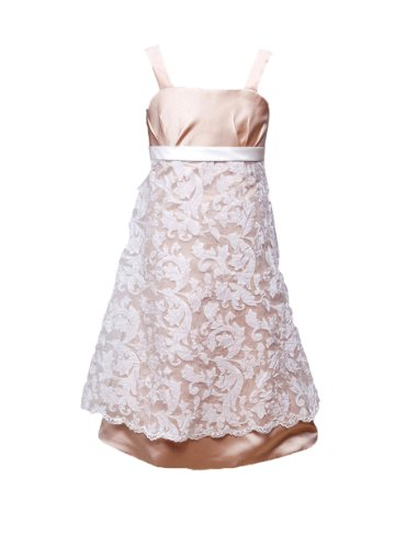 Honeystore Girl'S Straps Lace And Satin Tea Length Wedding Flower Girl Dresses 2014 Size Us5 Color White Champagne