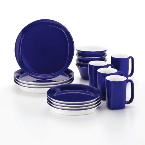 Rachael Ray Dinnerware Round and Square 16-Piece Dinnerware Set, Blue