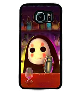 PRINTVISA Drinking Robot Premium Metallic Insert Back Case Cover for Samsung Galaxy S6 - D6059