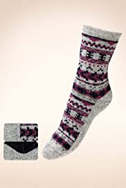 2 Pairs of Thermal Abstract Print Socks with Wool [T60-7115-S-FO32]