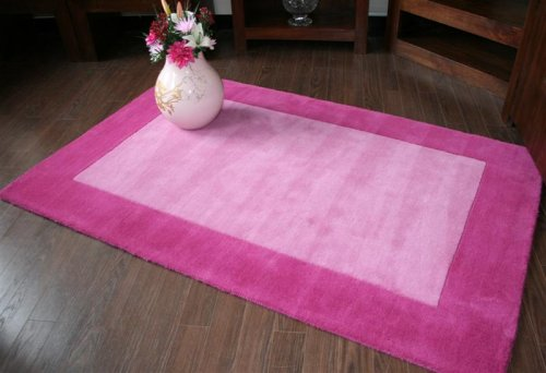 Homescapes Hudson - Pink Rug - 120 x 180 cm ( 4 x 6 ft ) - 100% Pure New Wool Hand Tufted Border