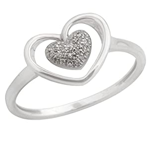 Lovely Heart Shaped Ring With Round Brilliant Cut Natural Diamond, 925 Sterling Silver Size 5.5