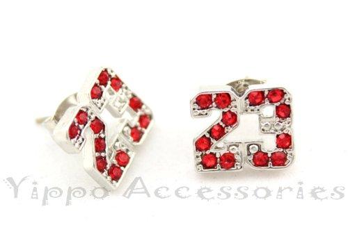 Michael Air Jordan Jumpman 23 Basketball Silver Tone W/ Red Cz Stud Hip Hop Bling Earrings