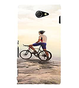 PrintVisa Sports Cycling Adventure Design 3D Hard Polycarbonate Designer Back Case Cover for Sony Xperia M2 Dual