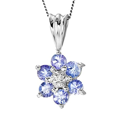 Ornami Glamour 9ct White Gold Diamond and Tanzanite Flower Pendant with 46cm Curb Chain