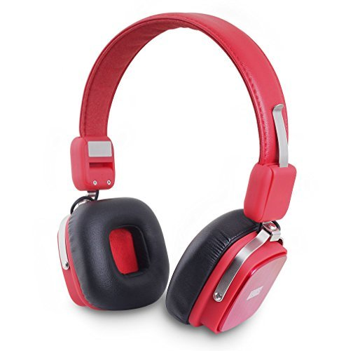 August EP634 - Bluetooth Wireless Stereo Headphones - On Ear Cordless Headphones with 3.5mm Audio In, Rechargeable Battery and Built-in Microphone - (Android / PS3 / iOS / Windows Compatible) (Red) (Android Mini Pc Accesories compare prices)