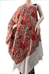 Matelco aari work cream woollen embroidered stole