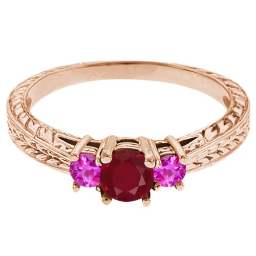 0.56 Ct Round Red Ruby Pink Sapphire 18K Rose Gold 3-Stone Ring